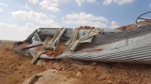صورة لعملية هدم بركة سهل قاعون في بردلا