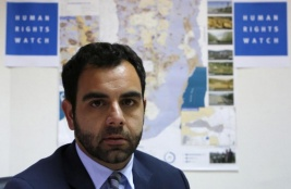 HRW's Israel and Palestine director Omar Shaker in Ramallah, May 2018. ©2018 AFP