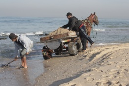 Collecting sand from the Gaza beach. Bassam Almohor 2012