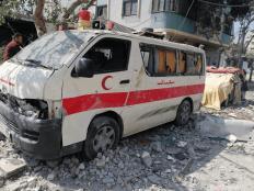 An ambulance was damaged in the bombing of Al-Batnji and Al-Badawi buildings, northern Gaza© Al-Haq, 20 May 2021