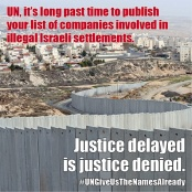 UN HIGH COMMISSIONER MUST RELEASE DATABASE ON COMPANIES INVOLVED IN ISRAELI SETTLEMENTS