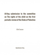 Al-Haq's report to the Committee on the Rights of the Child on the initial report submitted by the State of Palestine