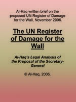 The UN Register of Damage for the Wall