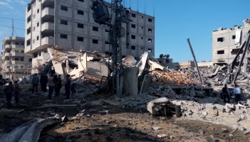 Destruction of Al-Aqsa TV station's headquarters by Israeli missiles fired on 12 November 2018 north of Gaza. Photo taken by Al-Haq on Tuesday, 13 November 2018 – (c) Al-Haq 2018.